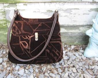 60s Vintage Brown Velvet Burn Out Abstract Handbag