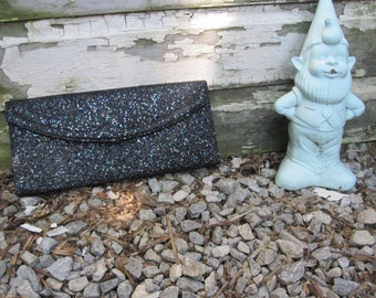 60s Vintage Black Glitter Evening Clutch by Lennox Bags