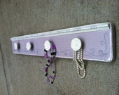 Jewelry Holder, jewelry organizer, purple chalk paint, girls birthday, wall hanging, valentines day, distressed purple, unique gift, girls.