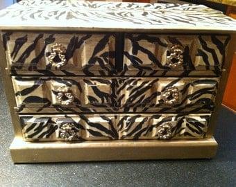 Large Jewelry Box, Zebra Musical Jewelry Box, Gold Jewelry Storage, Animal Print Jewelry Organizer, Jewelry Box,  Gifts For Her