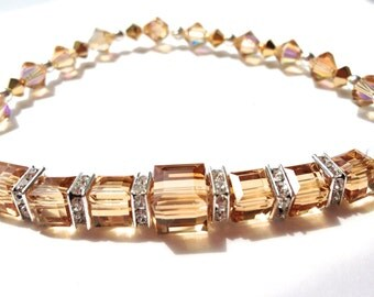 Cube Bracelet, Swarovski Crystal, Golden Shadow, Stretch Bracelet, Beaded Jewelry, Sparkle Jewelry