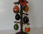 Hand Painted Prim Halloween Egg Gourd Ornaments plus Rack