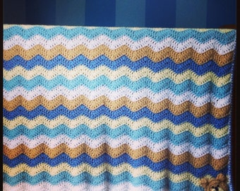 Sweet Baby Crochet Chevron Bear Blanket