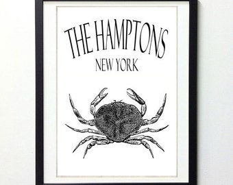 The Hamptons NY Crab Vintage Style 8x10 Art Print