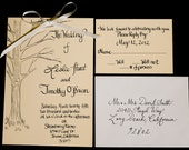 Tree Calligraphy Invitation with Envelopes