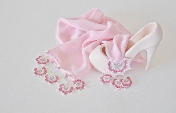 Pink Silk Wrap Scarf, Turkish Lace Scarf, Oya Beaded Scarf, Jewelry Scarf, Pastel Pink Foulard, Crochet Jewelry, Women's Gift, Reddapple
