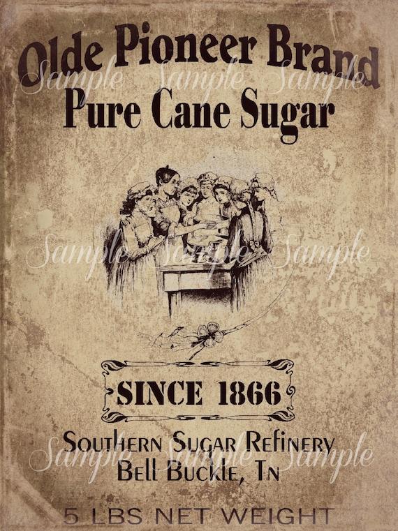 Primitive Vintage Pure Cane Sugar Jpeg Digital Image Feedsack