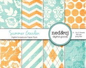 Digital Scrapbook Paper Pack - Summer Garden - Distressed Digital Paper - Aqua & Tangerine Floral