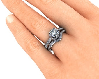 Moissanite Engagement Ring and Matching Wedding Band  Diamond Setting 14k Gold - Ring Name: Lovely