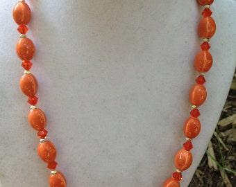 Orange Ceramic Bead Necklace