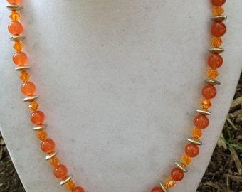 Orange Stone Bead Necklace
