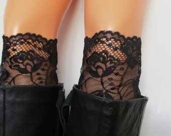 Lace Boot Cuff, Stretch lace black boot cuff,  black lace leg warmers,  gift for  her.