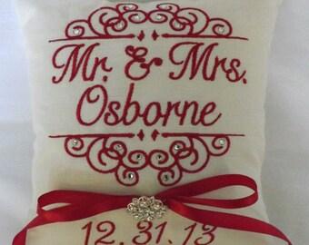 Ring Bearer Pillow, Swarovski Crystals, ring bearer pillows, ring pillow, Mr. & Mrs., custom, personalized, monogram, embroidery, wedding