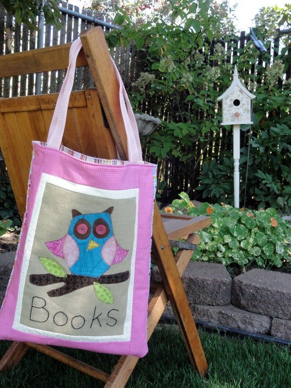 Children's Library Book Bag, machine applique owls in blue and pink