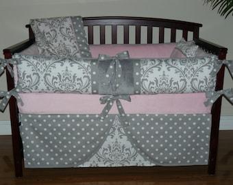 Girl Baby Bedding Light Pink, Gray Damask,    Crib Bedding 5PC Set,  Custom  Made, Pink Baby Bedding,Grey Baby Bedding.