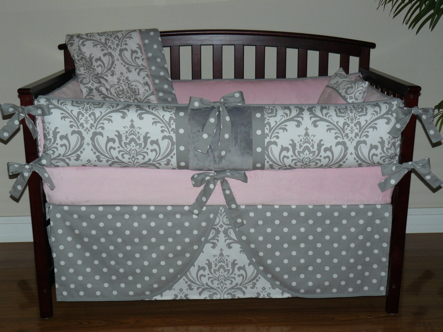 Baby Bedding Light Pink Gray Damask Girl Crib Bedding 5PC