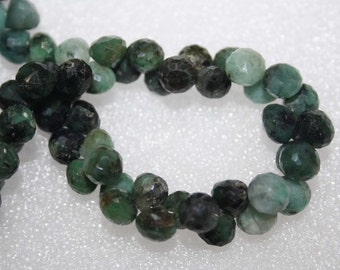 Natural AAA Quality Shaded Emerald 7 to 8mm Faceted Onion Gemstone Beads 8 Inches BA119