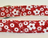 """FREE SHIPPING - Red with White Flowers Dog Collar - """"Chrisy"""" - Free Colored Buckles"""