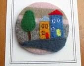 Handmade Felt Pin-back Badge/Brooch with Felt Picture