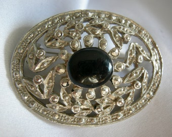 Silver Tone Oval Filigree Brooch Pin - with Black Cabochon - Unsigned - Vintage