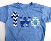 Birthday Shirt two shirt chevron, royal retro cars, aqua cars for boys blue 2nd Birthday Shirt on athletic blue