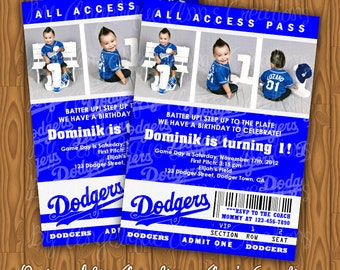 Dodgers Ticket Style Birthday Party Invitations