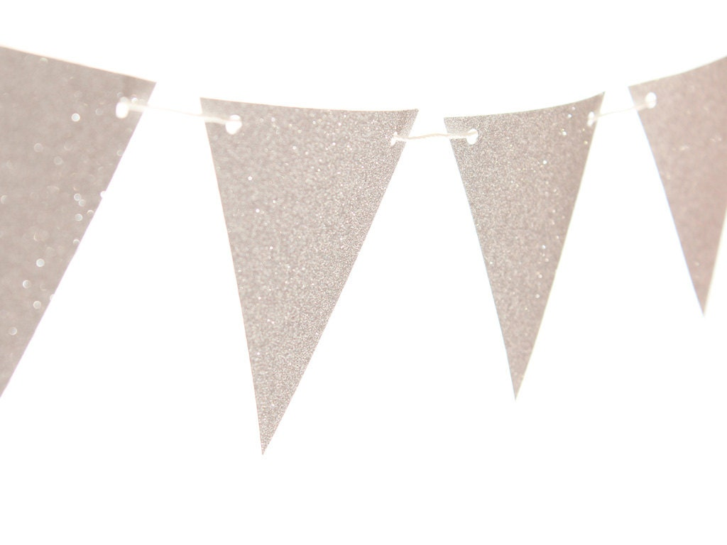 Silver Triangle Pennant Flag Banner / Silver Bunting / Silver