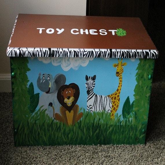 Jungle Animals And Safari Themed Toy Bench Toy Box Treasure