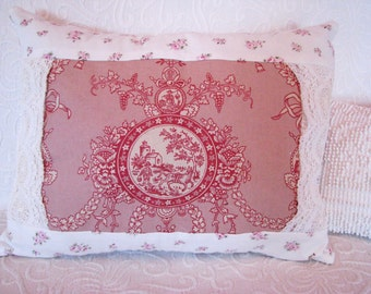 new rose pink VINTAGE TOILE garland LACE pillow shabby cottage chic  rachel ashwell french country upcycled