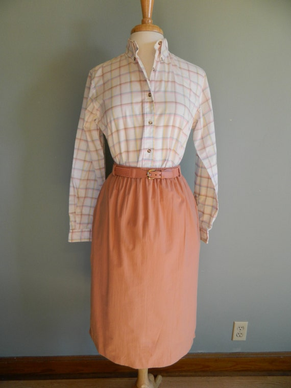 Items similar to peach belted skirt alfred dunner for Alfred dunner wedding dresses