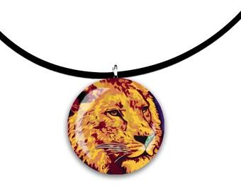 golden, Big cat art, purple and orange, golden Lion, glass tile pendant, handmade, bright orange colors, leo