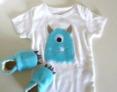 Blue Fuzzy Monster Baby Gift Set
