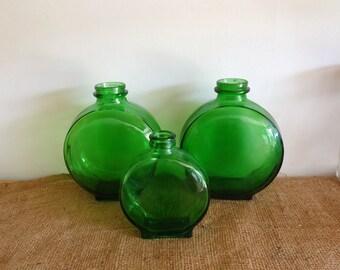Vintage glass, Green glass bottles, old bottles, antique bottles, vintage kitchenware, mid century, juice bottle,  vase