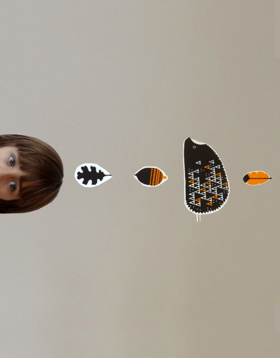 Scandinavian child baby mobile orange brown geometric hedgehog triangle white cotton feather