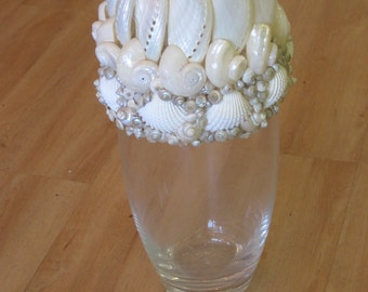 Beach Decor Glass Shell & Seaglass Vase  - Seaglass Vase - Shell Vase - Coastal Home Decor - Nautical Decor