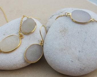 Oval White Druzy Bridal Jewelry Set- White Gemstone Jewelry Set- Simple White Druzy Jewelry