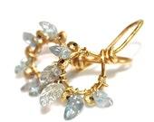 Carved Sapphire Earrings Leaf Earrings Gold Hoop Earrings Wire Wrapped Jewelry Everyday Earrings Delicate Earrings Artisan Jewelry FizzCandy