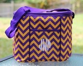 Monogrammed Purple and Yellow Chevron Cooler- LSU Tigers- Game day- Tailgate