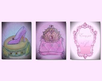 Princess Decor, Nursery Prints, Cinderella shoe, Crown, Princess wall art, Girl nursery Art , Girls room Decor, Baby Girl Nursery, Kids art