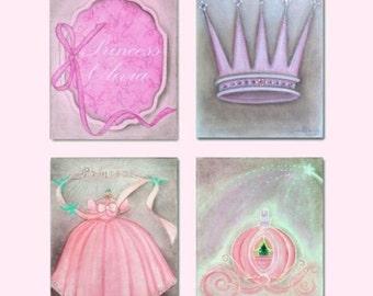 Girl Nursery, Princess Wall Art, Nursery prints, Nursery Decor, Princess Girl Room, Cinderella Nursery, Children Decor, Princess Prints