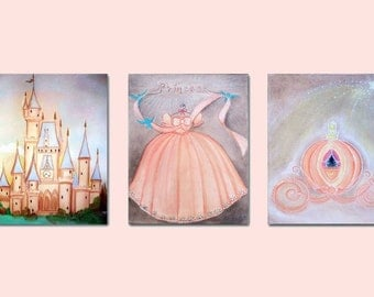 Nursery decor prints, Princess Decor, Baby Girl Nursery, Cinderella, Princess Wall Art, Princess Kids Decor, Kids Wall Art, Girls room Decor