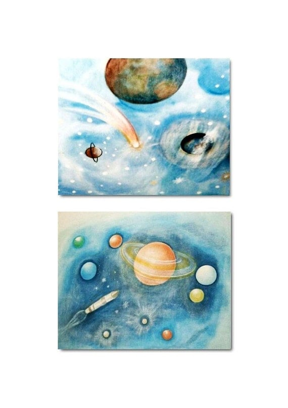 Outer space art kids decor kids wall art nursery by for Outer space decor