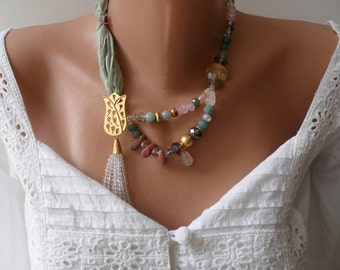 Tulip Necklace - Mint and Colorful Semi-preciouse Bead Necklace - Bride Necklace - Bridesmaid Necklace - Speacial Handmade Design