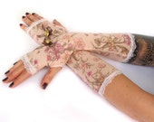 Pink Wedding, Bridal fingerless gloves mittens, arm warmers with lace, vintage gold buttons and brown bows - Goth Victorian Classic Romantic