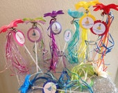8 Disney Princess Wands With Flower and Bell Party Favors with matching gift tag