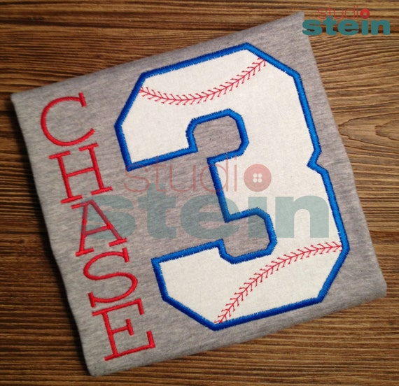 Ships in one week: Embroidered Baseball Birthday Shirt with Number or Initial
