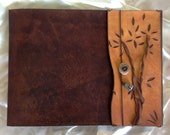 Twisted Tree, Large, Refillable Leather Sketchbook, Sketchbook cover - Warm Brown, Leather Journal, Drawing  Book, Guest Book, Hand bound,