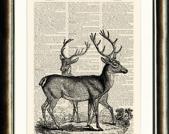 Beautiful Deer - vintage image printed on a late 1800s Dictionary page Buy 3 get 1 FREE