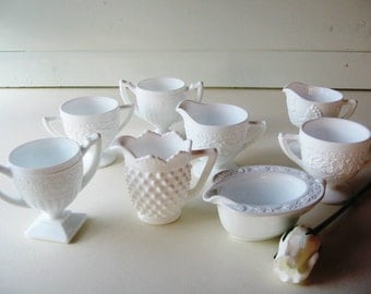 Milk Glass Cream and Sugar, Wedding Tablesetting, Shabby Chic, 8 pieces
