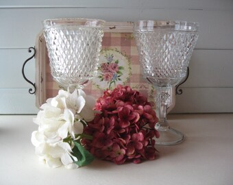 Glass Compotes, Glass Pedestal Bowl, Diamond Cut Brilliant Glass Compotes